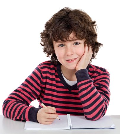 children writing: Adorable child writing in the school on a over white background