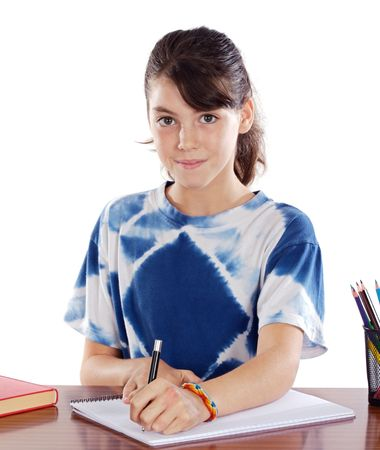 girl studying in the school a over white background photo