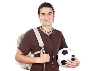 Student and sportsman a over white background photo