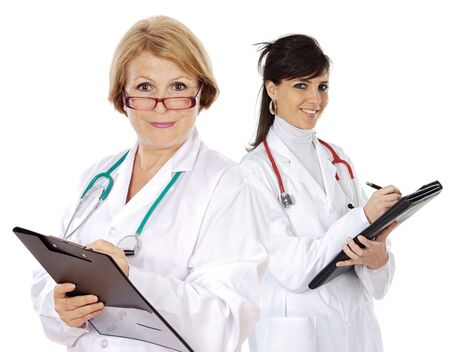 Attractive medical team a over white background photo