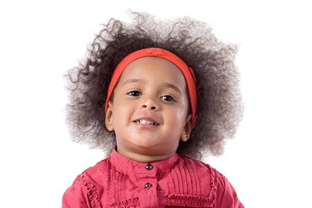 baby hairstyle: Adorable african baby with afro hairstyle isolated over white Stock Photo