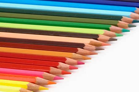 Pencils of colors a over white background photo