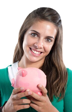 Attractive girl with money box a over white background Stock Photo - 5552768