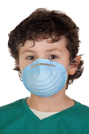 isolation: Child infected with influenza A and mask isolated over white