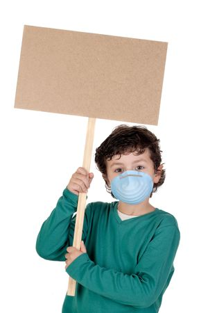 influenza: Child infected with influenza A and mask isolated over white