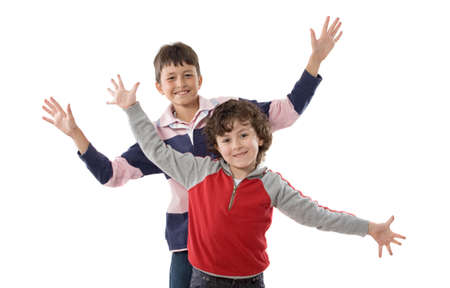 Couple of nice kids isolated on white photo