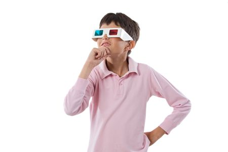 Child whit 3d glasses on a over white background photo