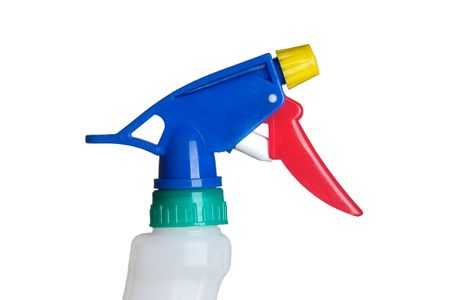 Spray container of plastic for cleaning isolated on white photo