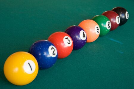 Billiard Balls sorted by the number and aligned  photo