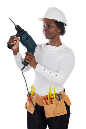 African american woman with helmet and tools a over white background photo