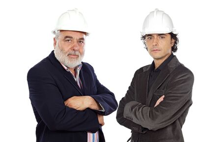contracting: Couple of architect on a over white background