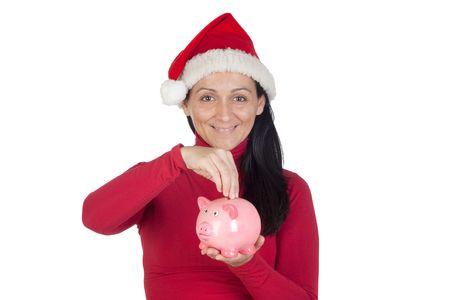 christmas savings: Beautiful girl with Christmas hat saving isolated over white  Stock Photo