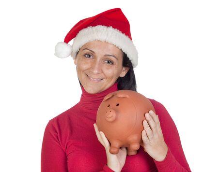 christmas savings: Beautiful girl with Christmas hat saving isolated over white