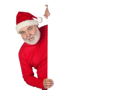 Funny Santa Claus with poster isolated on white background photo