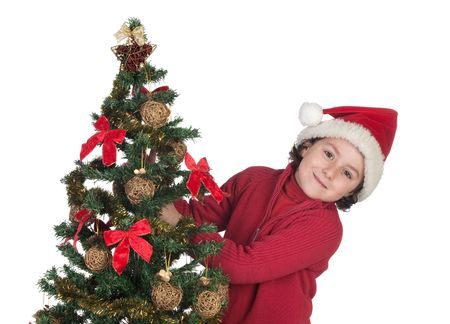Beautiful child with Christmas trees isolated on white Stock Photo - 6075144