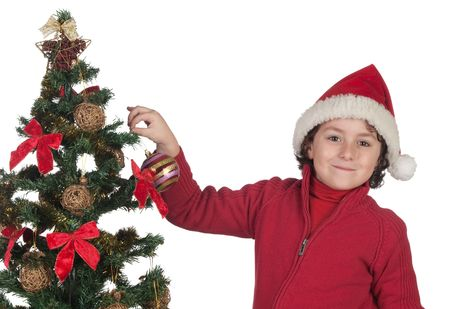 Beautiful child with Christmas trees isolated on white Stock Photo - 6075113