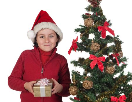 Beautiful child with Christmas trees and gift isolated on white Stock Photo - 6075126