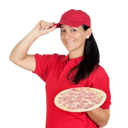 Delivery woman of pizza isolated on white background photo