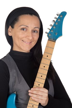 Girl with electric guitar isolated on white background  photo