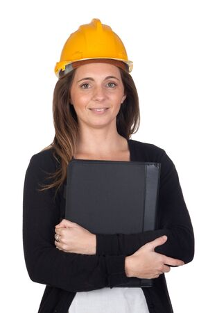 Young engineer with security helmet isolated over white background photo