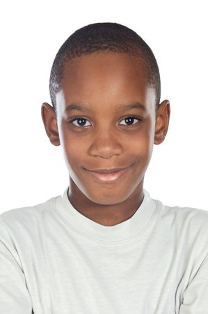 Adorable african preadolescent on a over white background photo