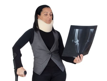 anatomically: Woman with cervical collar and radiography isolated on white background