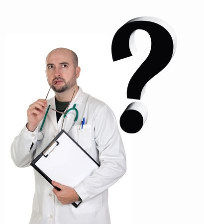 suspicious: Worried doctor with pensive gesture isolated on white background