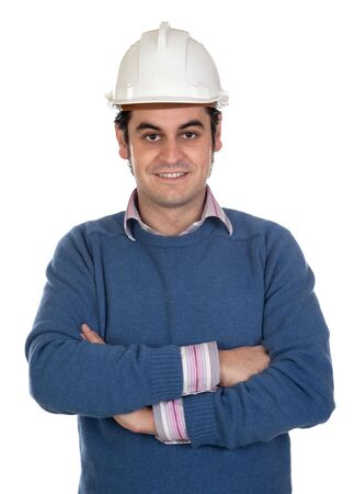 contracting: Engineer with white helmet on a over white background Stock Photo