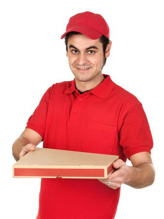 pizza delivery: Boy with red uniform delivering a pizza box isolated on white background