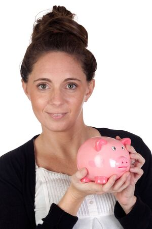 Attractive girl with money box on a over white background photo