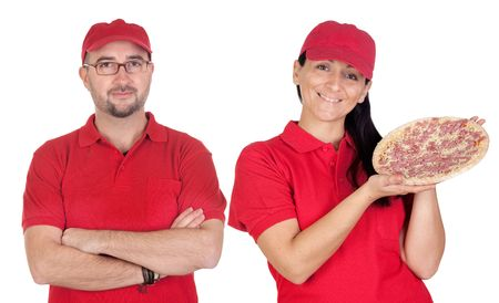 Deliver boy and girl with pizza with red uniform isolated over white background photo