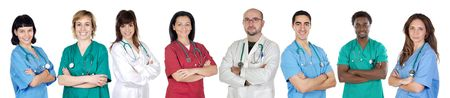 medical assistant: Large group of doctors isolated on white background