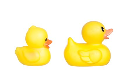 Family of yellow plastic ducks isolated on a over white background Stock Photo - 6316258