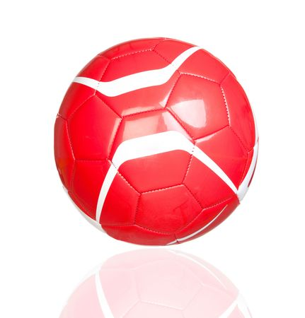 Red soccer ball with reflection isolated on white background photo