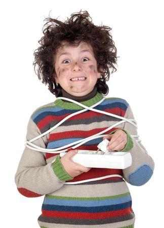 choc �lectrique: Choc �lectrique r�cepteur plug enfants isol� sur fond blanc