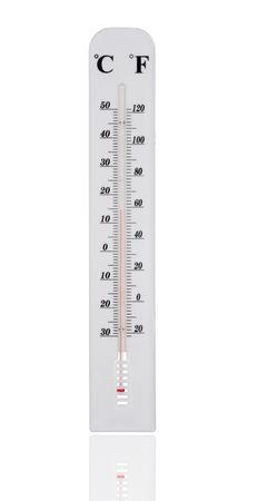 termometro: Temperatura blanco de gauge aislado sobre fondo blanco