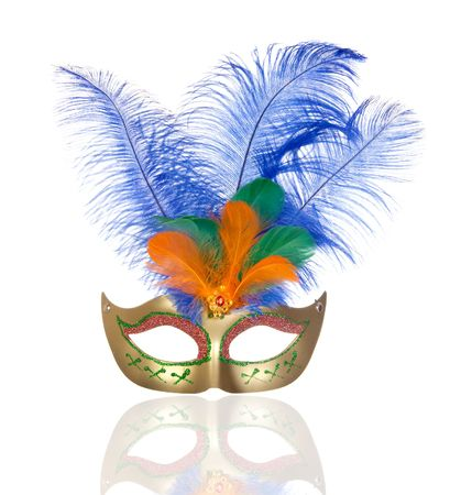 carnival festival: Beautiful golden carnival mask with feathers isolated on white background