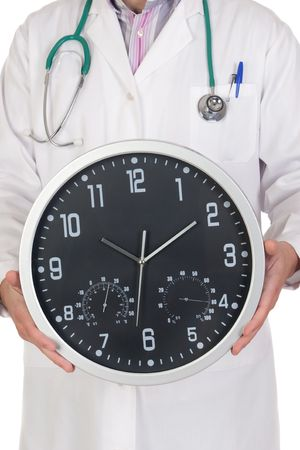 Doctor with big clock isolated on white background photo