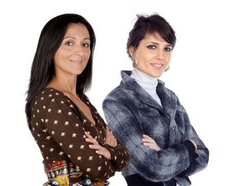 Couple of brunette girls isolated on white background photo