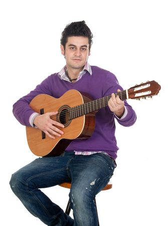 Casual guitarist isolated on a over white background photo