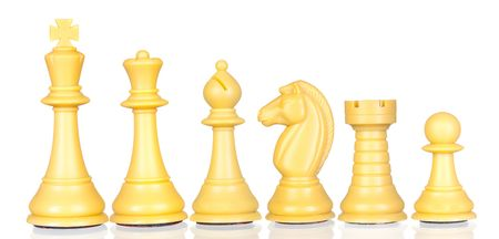 White chess pieces in order of decreasing isolated on white background photo