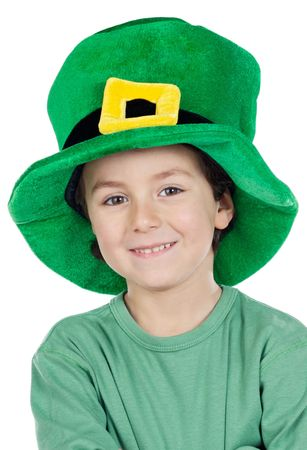 inocent: Child whit hat of Saint Patricks Day celebration
