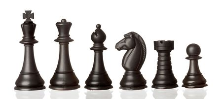 pawn: Black chess pieces in order of decreasing isolated on white background