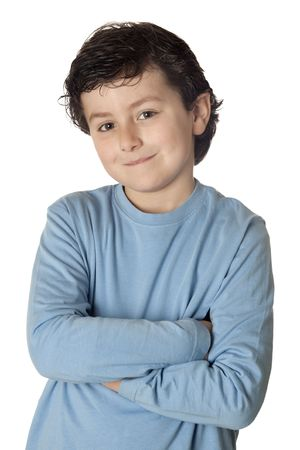 Funny child with blue shirt isolated on white background Stock Photo - 6750001