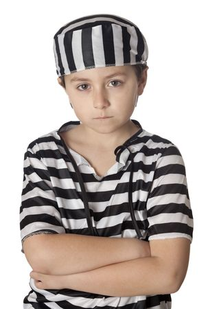tortured: Sad child with prisoner costume isolated on white background Stock Photo