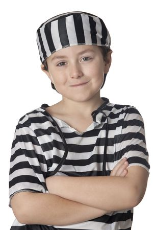 Smiled child with prisoner costume isolated on white background photo