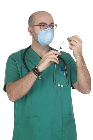Medical green uniforms preparing a syringe isolated on white background photo