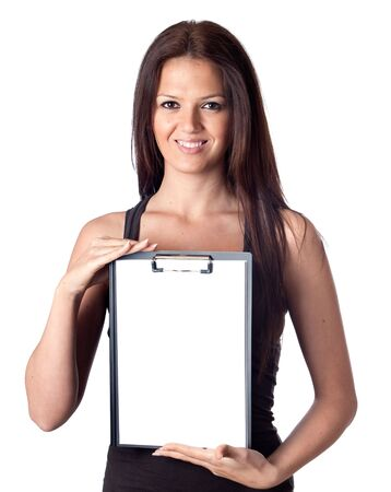 Happy student girl with blank clipboard isolated on a over white background Stock Photo - 6761486
