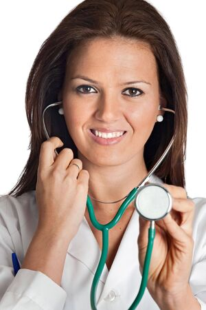 Attractive lady doctor over a white background Stock Photo - 6761478