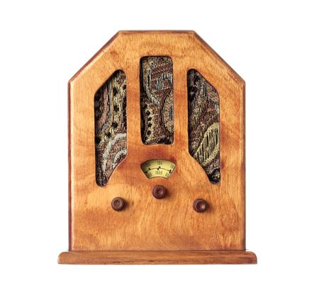 short wave: Beautiful old wooden radio on a over white background